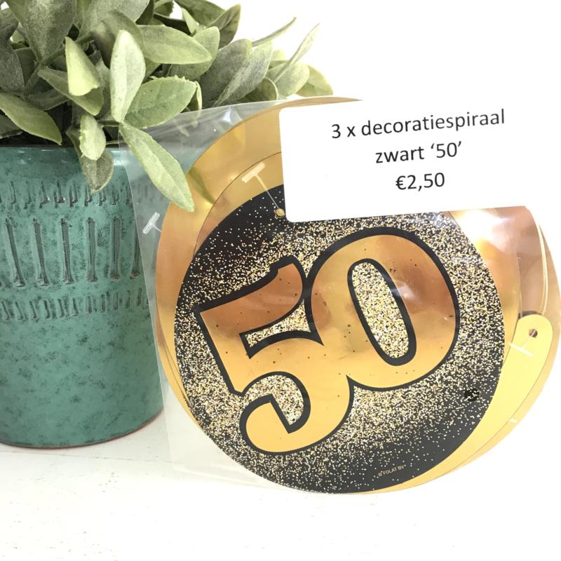 "3 decoratiespiralen goud/zwart ""50 """