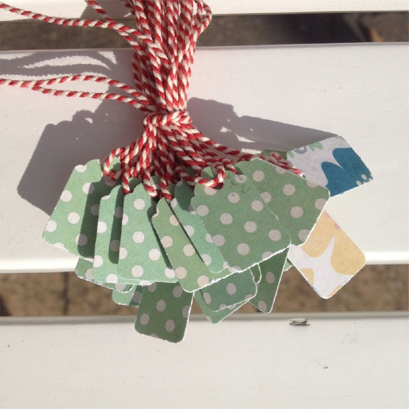 Prijs kaartjes( tags) groene stip met lichte gebloemde achterzijde S