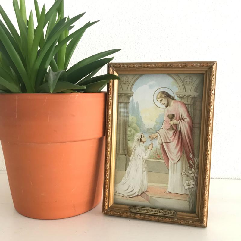 """Vintage schilderijtje """"Ter herinnering aan Uw H. communie"""" nr. 1"""