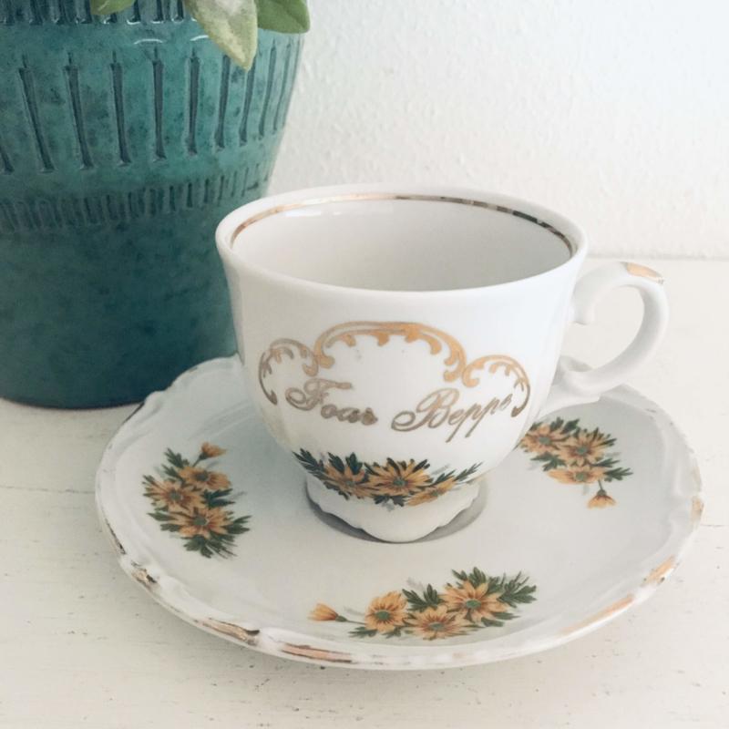 "Vintage kop en schotel 104, Tirschenreuth bavaria, ""Foar Beppe"""
