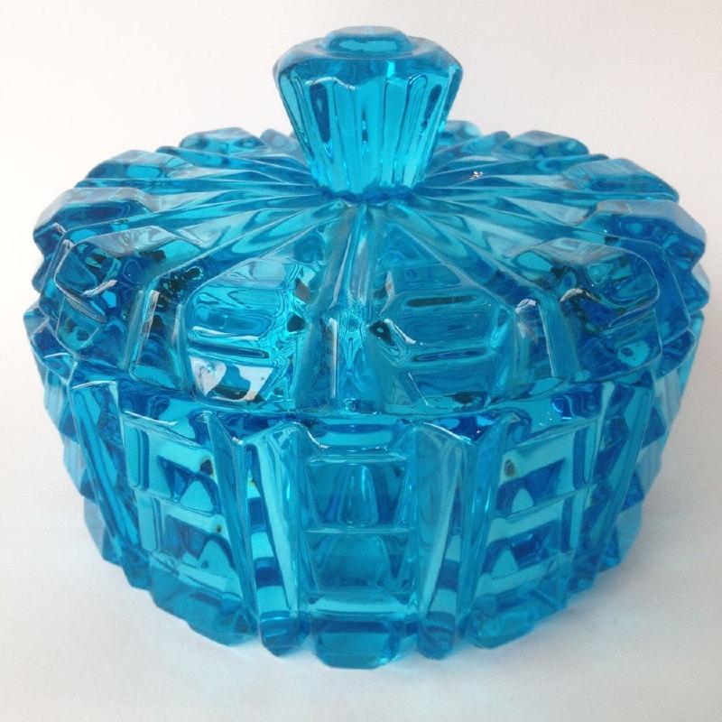 Vintage glazen schaal geperst glas uit jaren '50