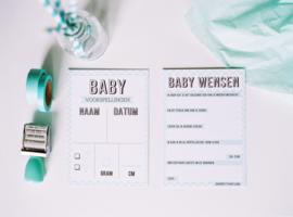 babyshower kaarten driehoekjes - 20 stuks