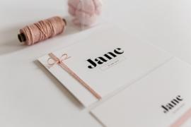 """geboortekaartje - bold """"Jane"""""""