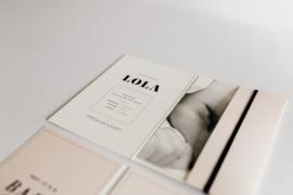 """geboortekaartje pocketfold """"Lola"""""""