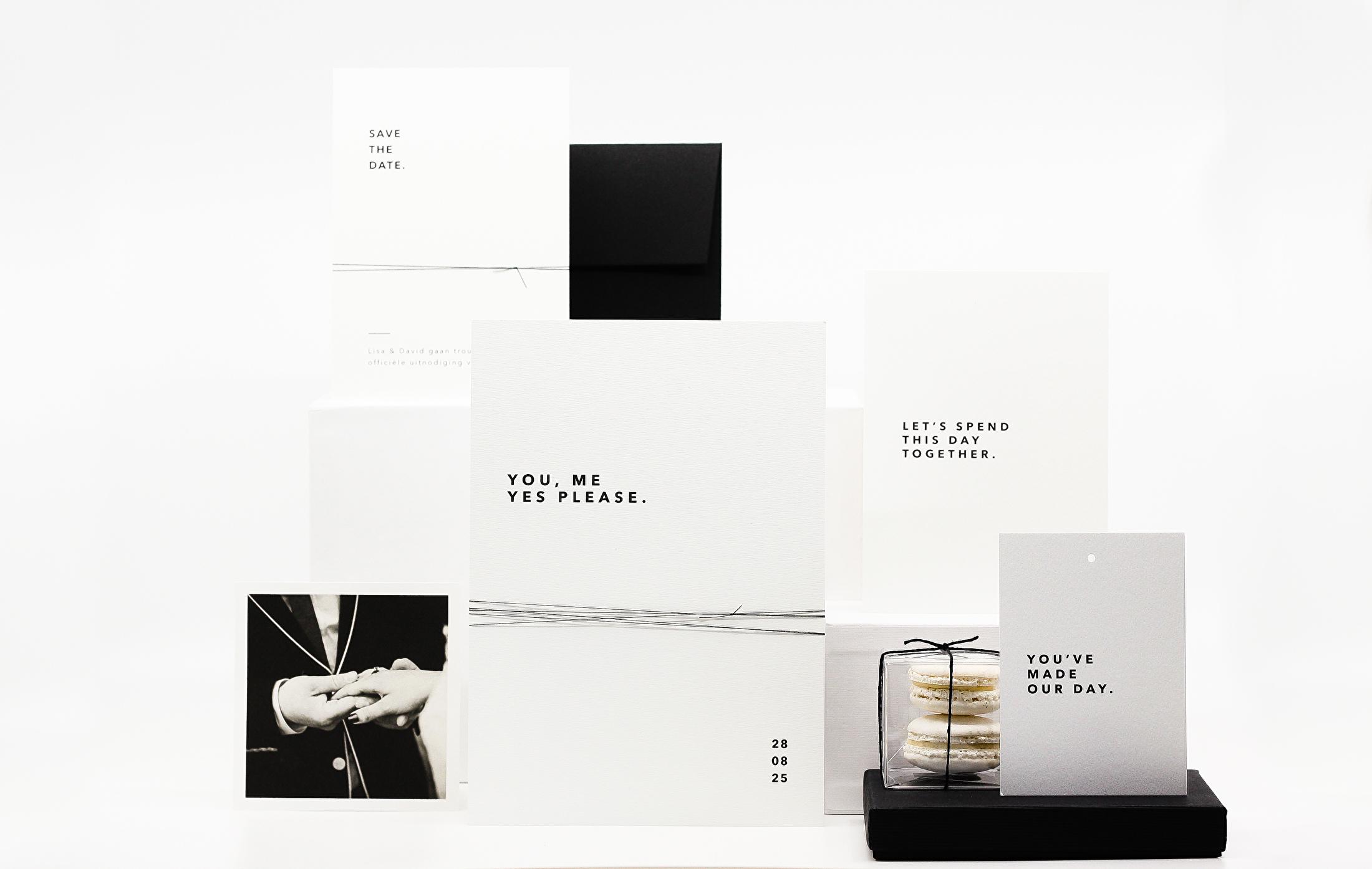 moderne trouwhuisstijl zwart wit