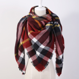 Outdoor Shawl bordeaux geel zwart