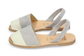 RIA MENORCA  Spaanse sandaaltjes avarcas handgemaakt -  model off white grijs