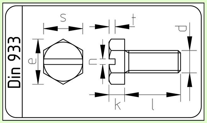 RVS Zeskantbout M4x16 met zaaggleuf Din 933 / ISO 4017.