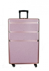 Drie-delig roze/zilvere glitter trolly