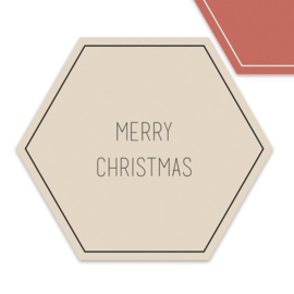 Merry Christmas hexagon  | 55mm merry christmas (creme)