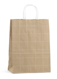 Draagtas papier grid bruin (smal)