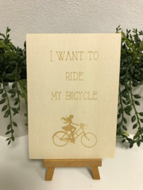 A6 | Houten kaart - I want to ride my bicycle