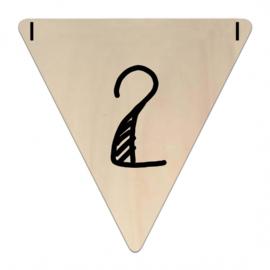 Houten Vlaggetje | 2 (cijfer)