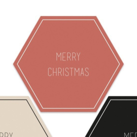 Merry Christmas hexagon  | 55mm merry christmas (rood)