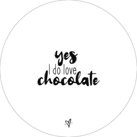 Wandcirkel - Yes i do love chocolate (wit)