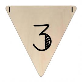 Houten Vlaggetje | 3 (cijfer)