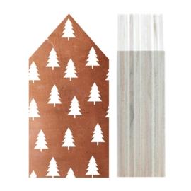 Huisje hout | Kerstboompatroon koper maat M