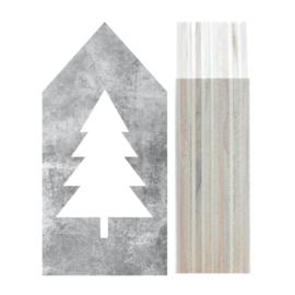 Huisje hout | Kerstboom grijs maat XL