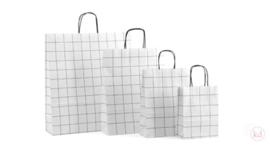 Draagtas papier grid wit (24 x 32 cm)