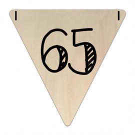 Houten Vlaggetje | 65 (cijfer)
