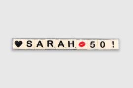 Letterkaarsjes in verpakking - Sarah 50