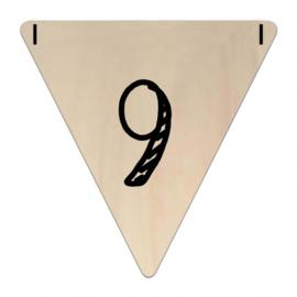 Houten Vlaggetje | 9 (cijfer)