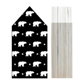Huisje hout | Ijsbeer patroon zwart maat L