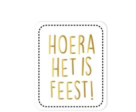Sticker hoera het is feest! | 25 mm x 85 mm