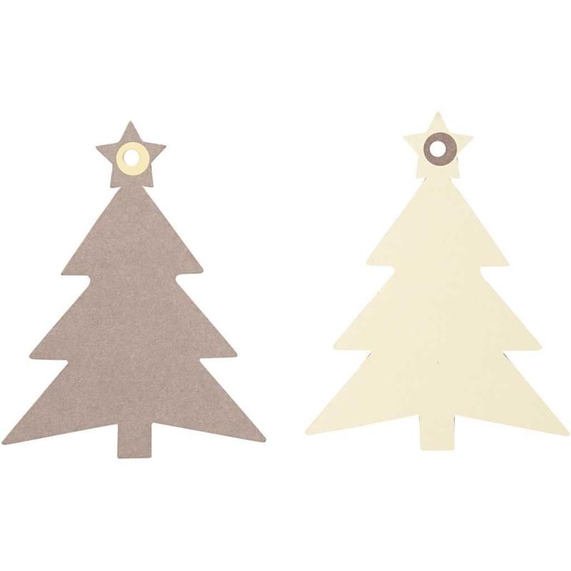 Kerstboom label lichtbruin / taupe