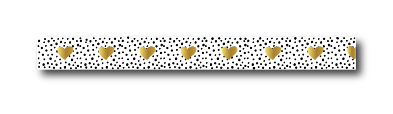 Masking tape hearts gold