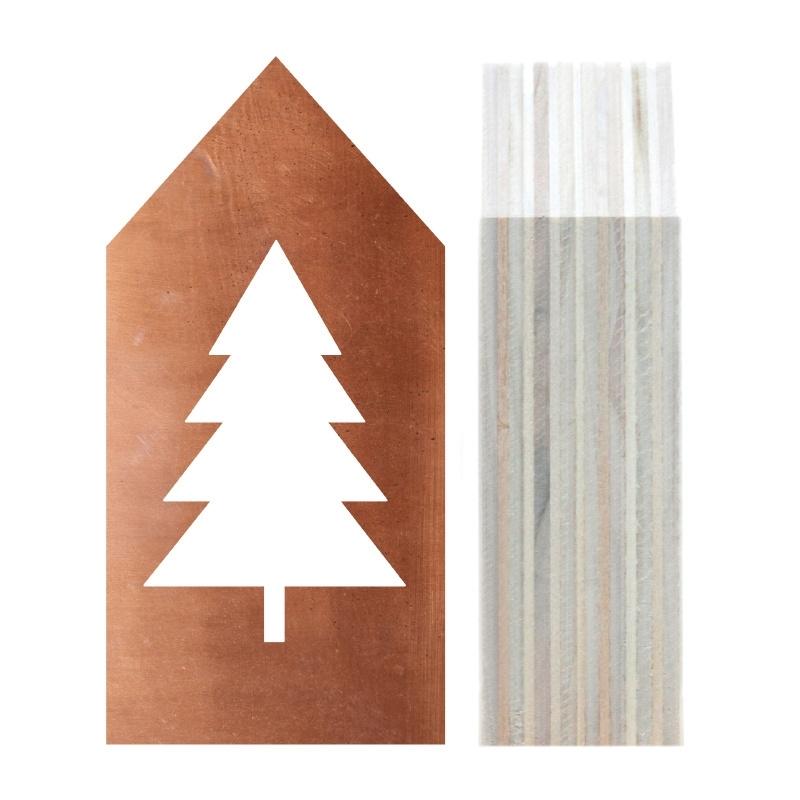 Huisje hout | Kerstboom koper maat M