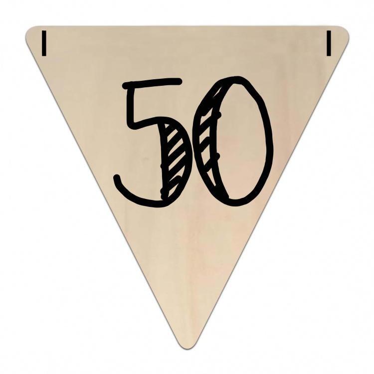 Houten Vlaggetje | 50 (cijfer)