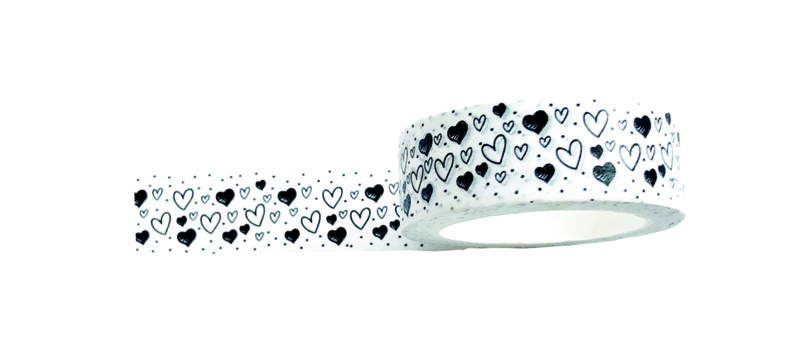 Masking tape hearts black and white