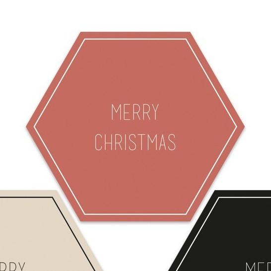 Merry Christmas hexagon  | 55mm merry christmas (rood)