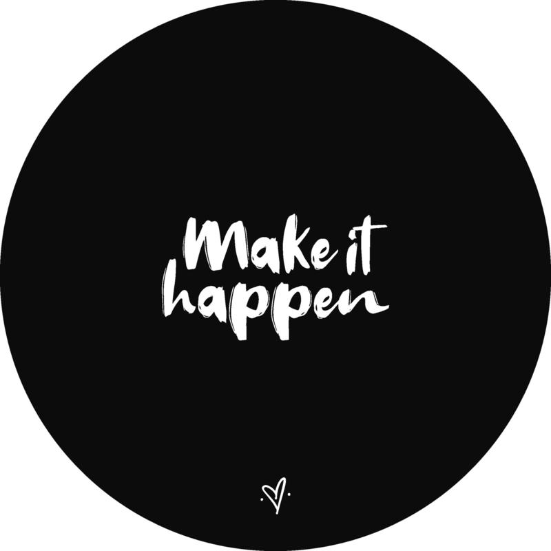 Wandcirkel - Make it happen (zwart)