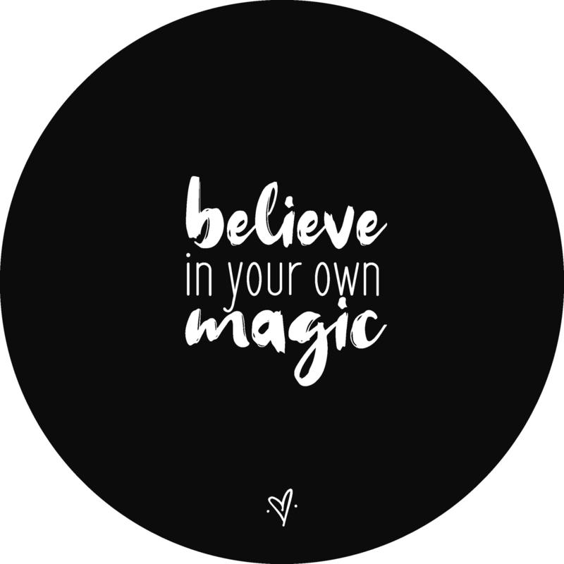 Wandcirkel - Believe in your own magic (zwart)