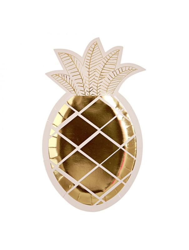 """Feest borden """"pineapple"""" 8 stuks"""