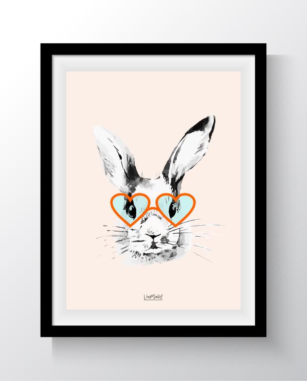 A6 - Hipster bunny oranje