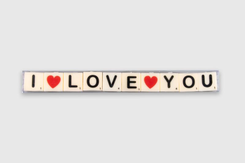 Letterkaarsjes in verpakking - I love you