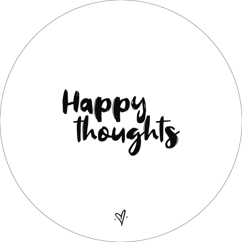 Wandcirkel - Happy thoughts (wit)