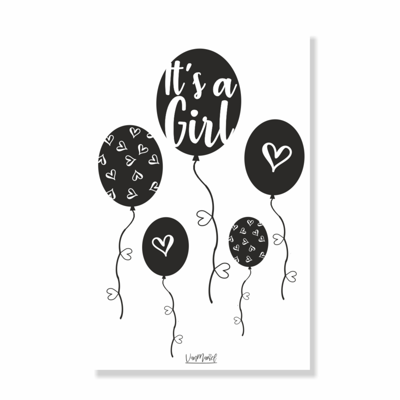 Kadokaart | Hoera Een girl ballon