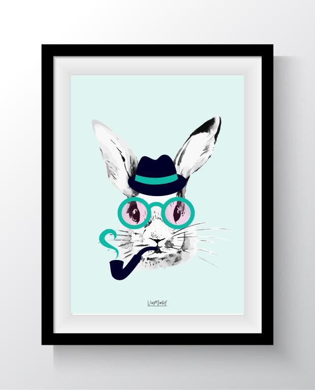 A6 - Hipster bunny groen