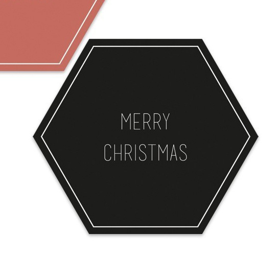 Merry Christmas hexagon  | 55mm merry christmas (zwart)