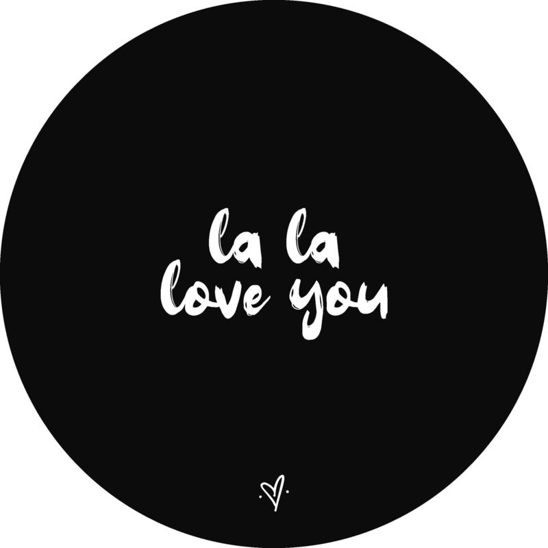 Wandcirkel - La la love you (zwart)