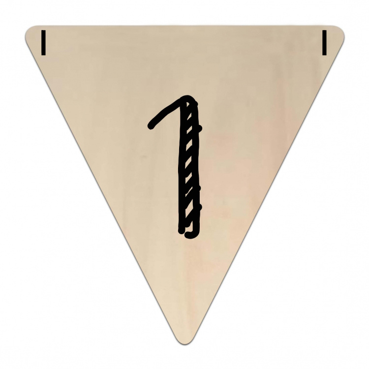 Houten Vlaggetje | 1 (cijfer)