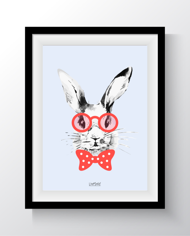 A6 - Hipster bunny blauw