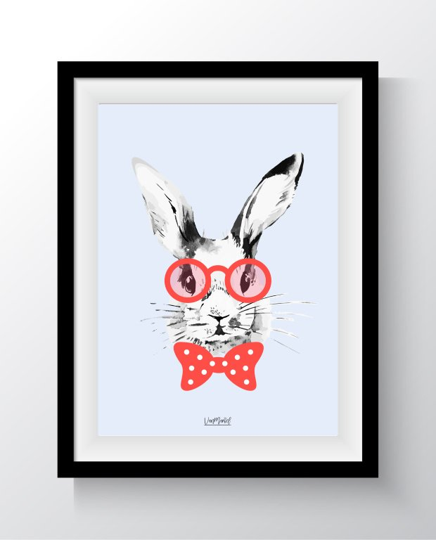 A4 - Hipster bunny blauw