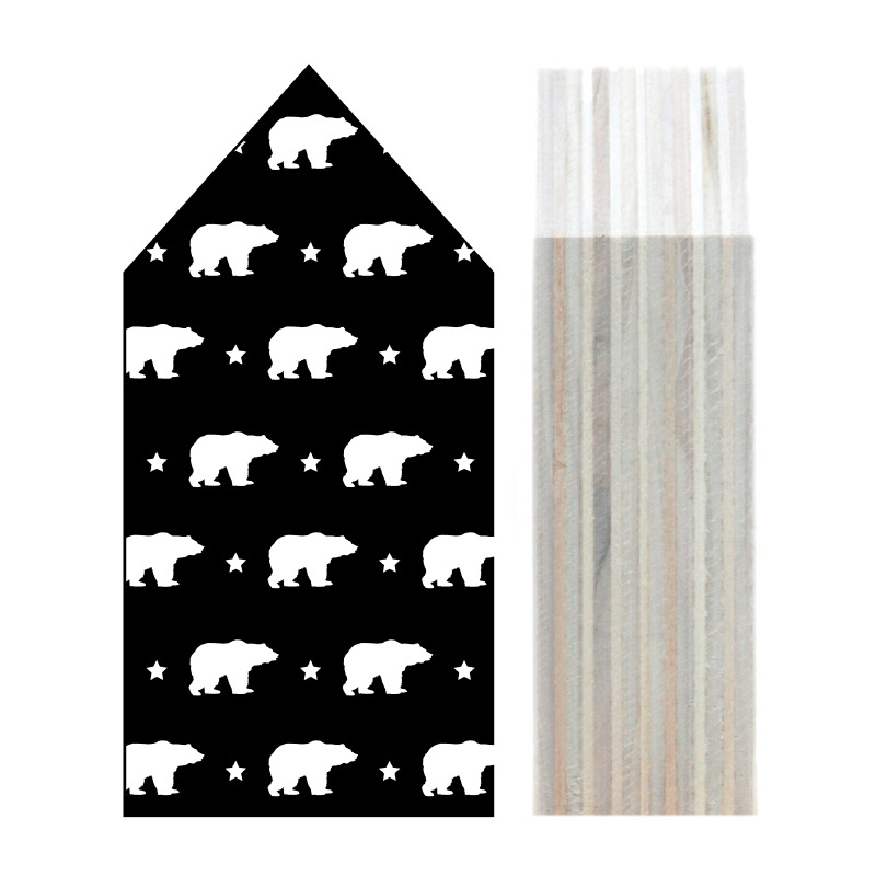 Huisje hout   Ijsbeer patroon zwart maat L