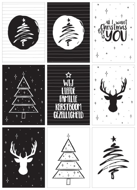 Kaartenslinger Kerst (set van 9 kaarten)