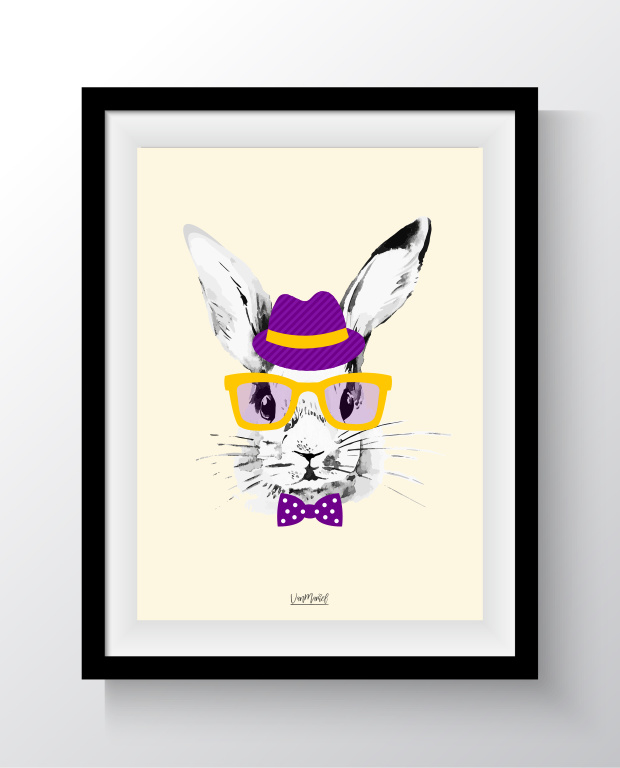 A6 - Hipster bunny geel